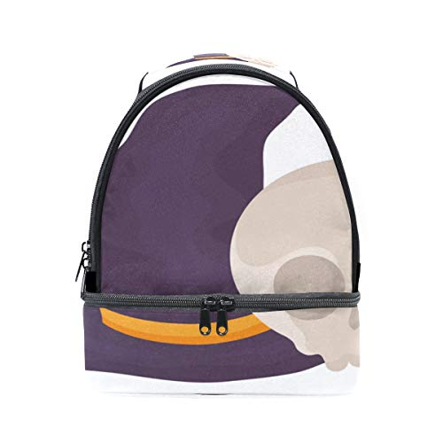 Witch Hat Design Halloween Portable School Shoulder Tote Lunch Bag Handbag Kids Double Lunch Box Reusable Insulated Cooler For Women Student Travel Outdoor
