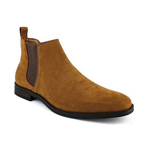 Jaxson Men's Ankle Dress Boots Slip On Almond Round Toe Leather Chelsea JX-B1851A