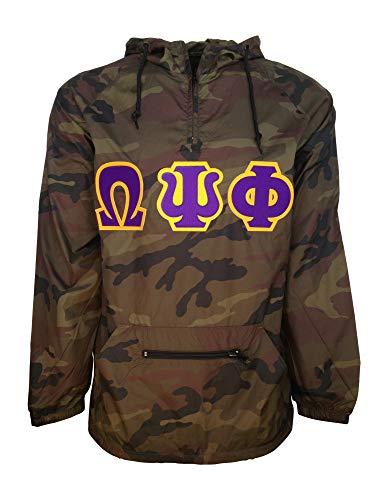 (Mega Greek Mens Omega Psi Phi Packable Pullover Anorak Jacket Camo Large)