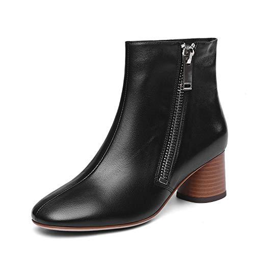 Cremallera Ásperos Botines Negro Altos Botas Banquete Moda Metal Boda Martin Formales Zapatos Tacones Yan Genuino Con Para De Noche Y Cuero Mujer 0FqBwOx7