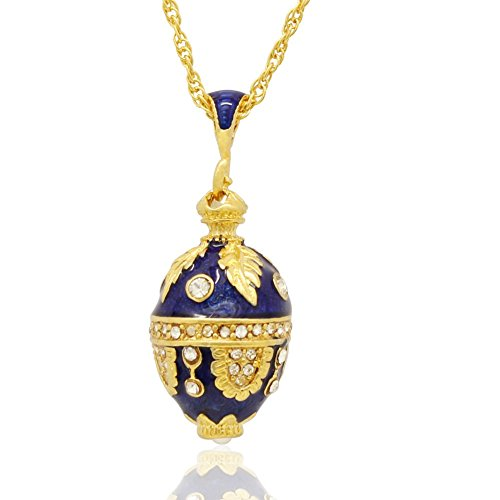 MYD Jewelry Enamel Handmade Leaf Design Russian Egg Faberge Style Pendant Necklace ()