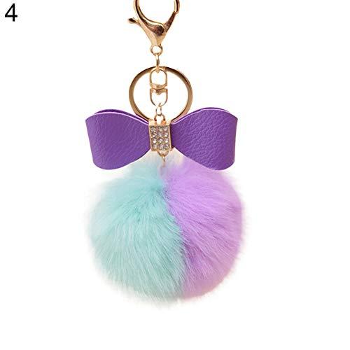 Faux Rabbit Fur Ball Pom Pom Bowknot Charm Car Keychain Handbag Phone Key Ring - 4# GlobalDeal (Phone Charm Under $1)