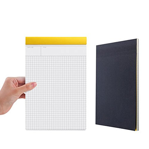 METAN Legal Pad Writing Pads A5(5.8x9) B5(7.2x10.6) A4(8.3x11.7) 80 Sheets per Pad Notebook, Perforated, Wide Rule, Wide Square, Black Kraft Hardcover (B5(7.2x10.6 Inches), Grid(0.2x0.2 Inch)) by METAN