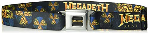 (Buckle-Down Men's Seatbelt Belt XL, Megadeth/Rust in Peace Skull Piles Black/Golds, 1.5