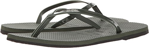 Havaianas Womens You Metallic Flip Flop Sandal Green Olive Size (Havaianas Style Womens Flip Flop)