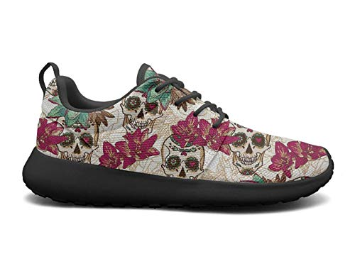 of AKDJDS Sneakers Womens The Running Skull And Shoes Mexican Casual Shoe Day Flowers Skull Dead rHtrBSq
