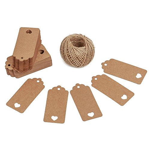 Gift Tags,100 Pcs Kraft Paper Gift Tags with String Vintage Gift Tags Craft Tags with Hollow Heart Wedding Party Price Tags with 100 Feet Jute -