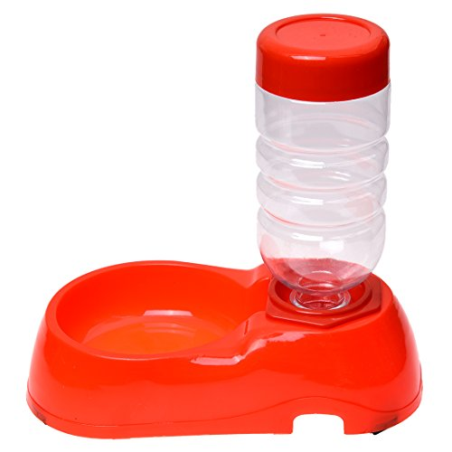 SODIAL(R) Pet Supply Dog Cat Automatic Water Supply Bowl Platter for Food Red