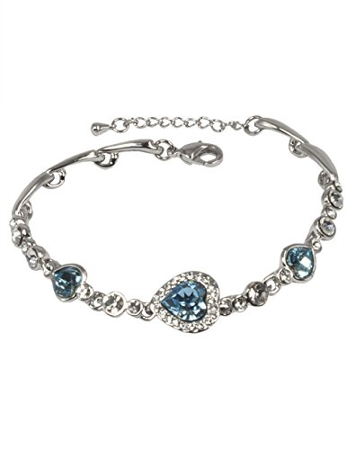 Dahlia Heart Shaped Crystal Rhodium Plated Bracelet with Crystals from Swarovski