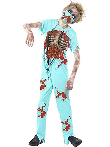 Zombie Halloween Costumes Uk (Smiffy's Children's Zombie Surgeon Costume, Bloodied Trousers, Top, Mask &)