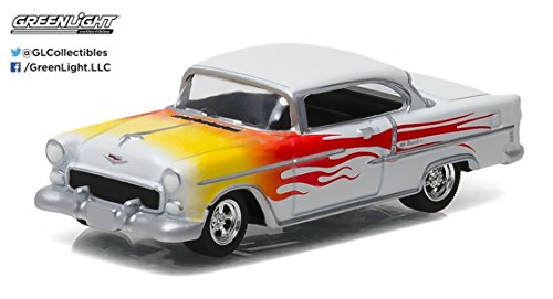 (1955 Chevy Bel Air, White w/ Red Flames - Greenlight 96170A - 1/64 Scale Diecast Model Toy)