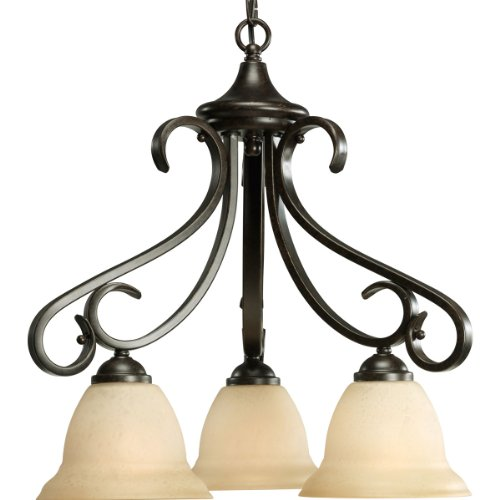 Progress Lighting P4405-77 3-Light Chandelier with Tea Stained Bell-Shaped Glass Bowls and Squared Scrolls and Arms, Forged Bronze
