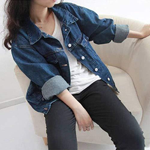 Donna Jeans Casual Cappotto Moda Confortevole Dunkelblau Outwear Streetwear Baggy Swag Giacche Con Single Manica Elegante Lunga Autunno Bavero Coat Breasted Tasche qgZdxwd5
