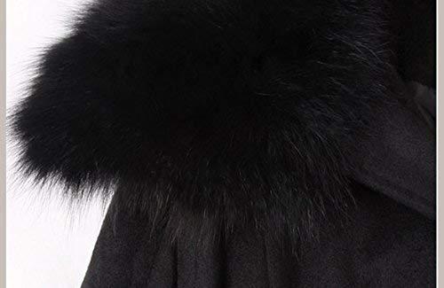 Especial Donna Inclusa Lunga Cintura Estilo Cappuccio Sintetica Giubotto 88 Schwarz Giacca Con Tasche Monocromo Manica Invernali Giaccone Calda Pelliccia Bobo Cappotti Anteriori q6afx75