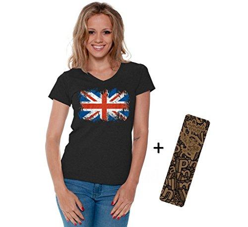 Awkwardstyles Women's British Flag V-Neck T-Shirt UK Vintage Shirt + Bookmark S Black