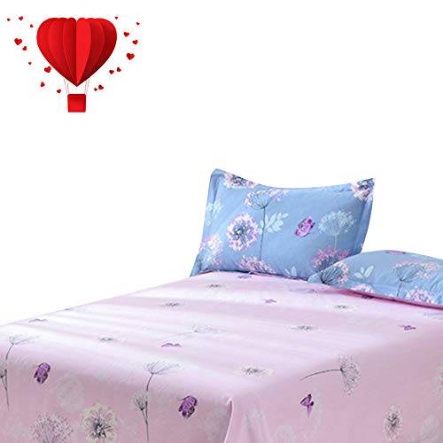 (BuLuTu Deep Pocket Fitted Sheet Queen Only 100 Percent Cotton,Dandelion Butterfly Print Kids Fitted Bottom Sheet Queen Pink,Breathable,Dream Premium Single Bed Sheet for Girls Women(1 Piece))
