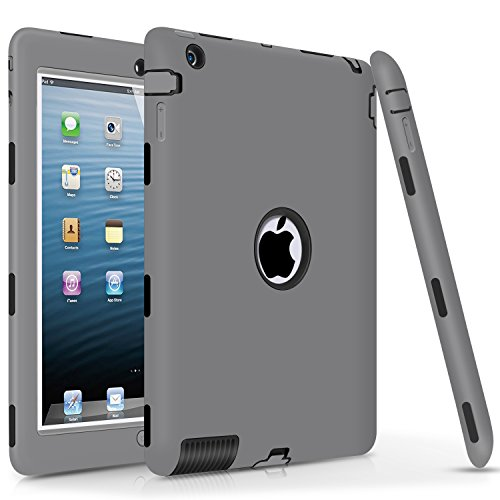 iPad 2 Case,iPad 3 Case,iPad 4 Case, DUEDUE Shock-Absorption Heavy Duty Rugged Hybrid PC Soft Silicone Back Cover Three Layer Armor Defender Protective Case for Apple iPad 2/3/4 Retina, Gray/Black