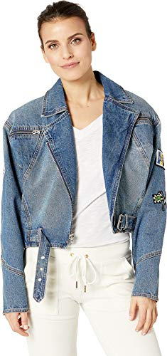 Juicy Couture Zip (Juicy Couture Women's Moto Denim Jacket with Patches Desert Wash X-Large)