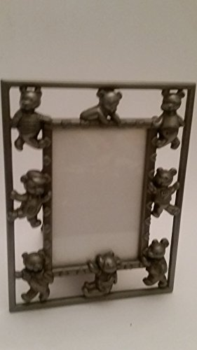very cute 8 teddy bears Pewter tone style frame: - Tone Pewter Frame
