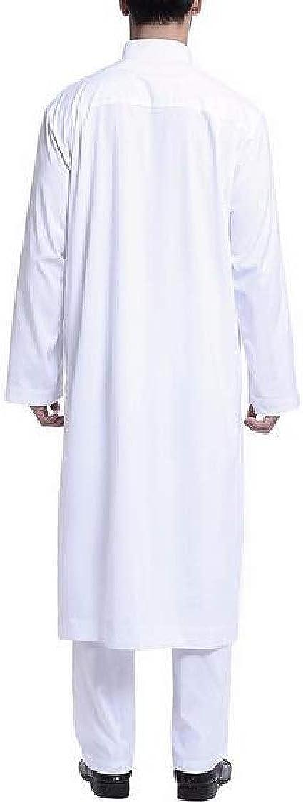 Pandapang Men Thobe Arabia Long Sleeve Muslim Islamic Tracksuit Set