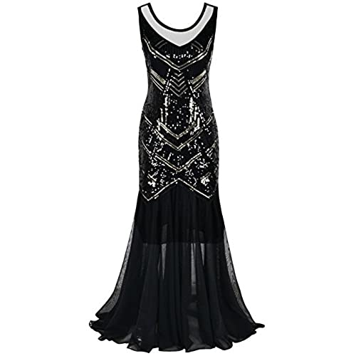 Kayamiya Womens Vintage 1920s Beaded Sequin Maxi Long Gatsby Flapper Prom Dress S Black