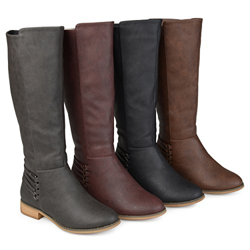 Brinley Co. Womens Madds Regular Wide Calf D-Ring Strap Distressed Faux Leather Riding Boots