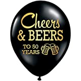 White Rabbits Design Cheers and Beers to 50 Years, 50th Birthday Party Balloon, Set of 3, 50th Birthday Party Decorations, Cheers and Beers, 50th Birthday Decorations for Him, Beer, 50th Anniversary