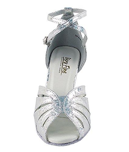 Très Belle Salle De Bal Latine Tango Chaussures De Danse De Salsa Pour Les Femmes 2713 2,5 Pouces Talon + Bundle De Brosse Pliable Ultra Argent