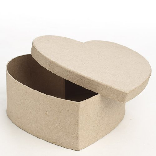 (Factory Direct Craft Set of 4 Ready to Personalize Paper Mache Heart Boxes (7