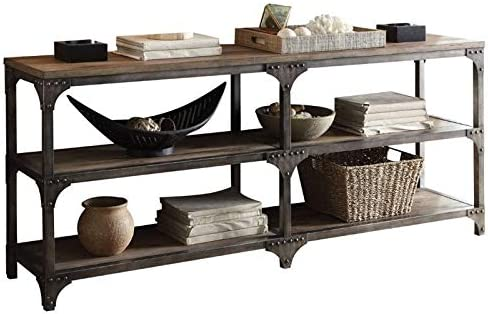 BOWERY HILL Console Table in Weathered Oak and Antique Silver