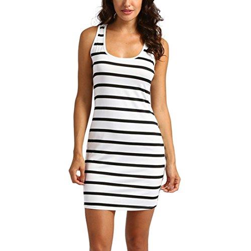 Black Striped Dress for Women Maxi Beach Sleeveless Racerback Sundress Boatneck ()