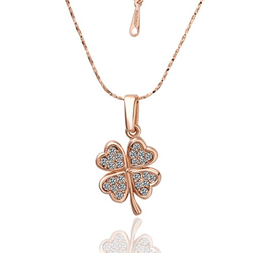 [Duo La Elegant Four Leaf Clover Cubic Zirconia 18K Rose Gold Plated Charm Lady Pendant Necklace] (Pictures Of Medusa Halloween Costume)
