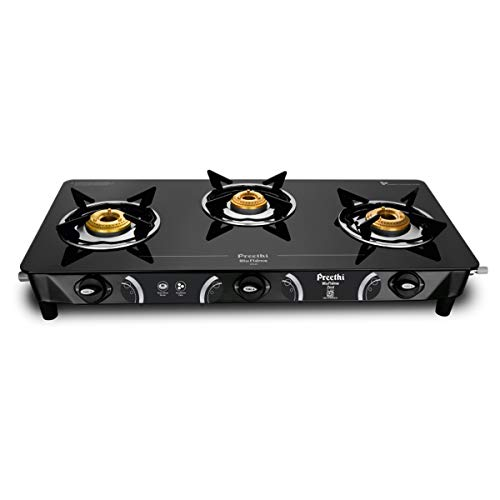Preethi – GTS124 Zeal Glass Top 3 Burner Gas Stove, Manual Ignition, Black Price & Reviews