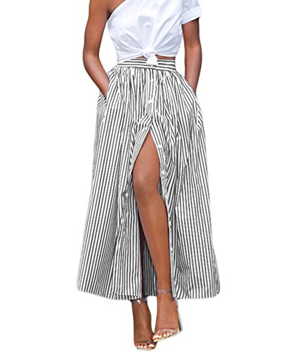 Lalagen Womens Striped Length Button