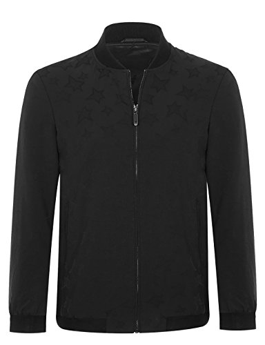 Black Fitted Jacket (APTRO Men's Casual Lightweight Golf Bomber Jacket FD116 (185/US L))