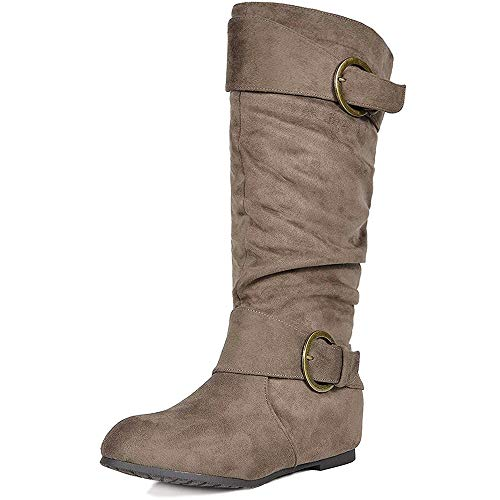 DREAM PAIRS Women's Knee High Wedge Heel Boots (Wide-Calf)