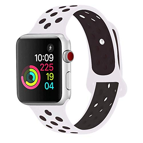 RUOQINI Compatible for Apple Watch Band 40MM, Dual-Color Soft Silicone Sport Replacement Band Compatible for Apple Watch Series 4 (S/M Size in White/Black Color)