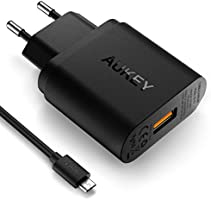 AUKEY Quick Charge 3.0 Cargador de Red 18W [Qualcomm Certificado] Cargador Móvil para Samsung Galaxy S8 / Note 8, LG G5, Nexus, HTC, iPhoneX/8/8Plus, iPad Pro/ Air, Moto G4 y más