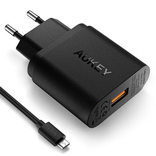 AUKEY Quick Charge 3.0 Cargador de Red 18W [Qualcomm Certificado] para iPhone, Nexus, ect. (Negro)