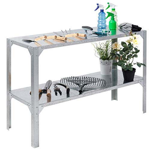 Metal Works Plant Stand - Giantex Galvanized Steel Workbench Worktable Workstation Prepare Work Potting Table Two Tier Storage Shelf