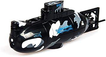 Mini Submarino Teledirigido Barco RC   Submarino Radiocontrol con Mando Control Remoto Juguete para Niños Agua Piscina (Negro)
