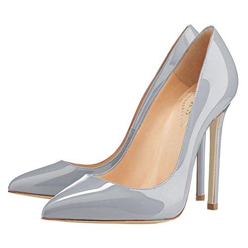 EKS - Zapatos de vestir de charol para mujer Grau-Lack