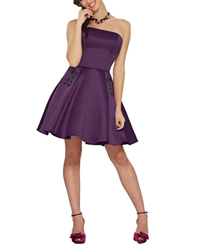 Dresses Strapless Homecoming Women's With Pockets Grape DreHouse Short 1xw7Zq5wn