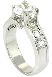 Classic Engagement Ring w/Round Brilliant White CZ, .925 Sterling Silver