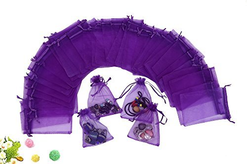 Wuligirl 100 PCS Purple Organza Gift Bags Marbles Coins Bags with Drawstring Party Wedding Bags Pouches Candy Bags (100 pcs Purple, 4x6