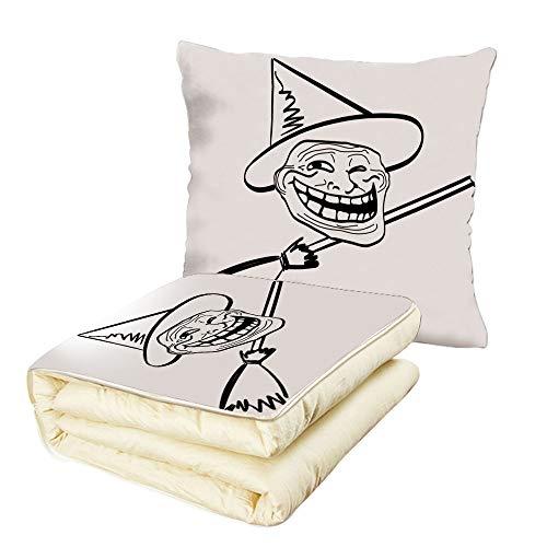 iPrint Quilt Dual-Use Pillow Humor Decor Halloween Spirit