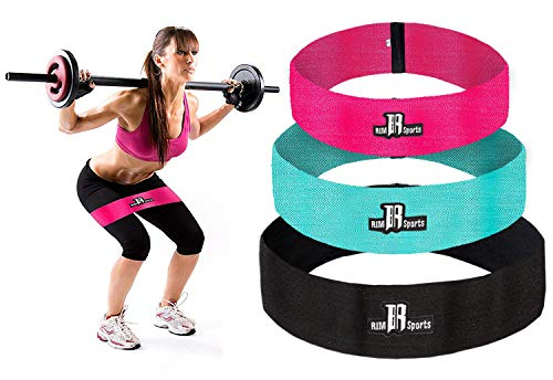 RIMSports Resistance Bands Best Exercise Bands for Booty - Ideal for Resistance Bands for Legs and Butt - Premium Workout Bands for Hips & Glutes Exercises (Pink, Turquoise, Black - Set of 3) ()