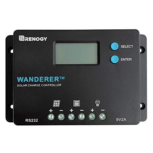 Renogy Wanderer 10 Amp 12V/24V PWM Negative Ground Solar Charge Controller Regulator Compatible with, 10A and Bluetooth Module