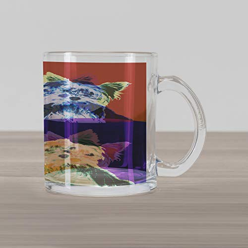 Ambesonne Retro Glass Mug, Pop Art Style Composition with Colorful Dog Portrait Vintage Style Nineties Design, Printed Clear Glass Coffee Mug Cup for Beverages Water Tea Drinks, Multicolor