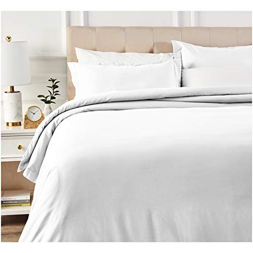 AmazonBasics 400 Thread Count Cotton Duvet Cover Set with Sateen Finish - King, White